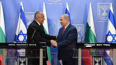 Israeli Prime Minister Benjamin Netanyahu and Bulgarian PM Boyko Borisov, June 13, 2018. Photo by Haim Zach (GPO).