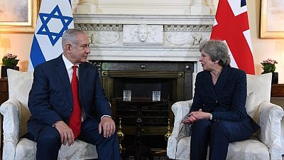 Israeli Prime Minister Benjamin Netanyahu and British Prime Minister Theresa May on June 6, 2018. Credit: Haim Zach/GPO.