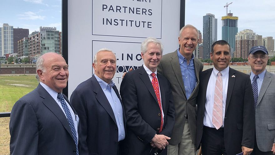From left: AFTAU board members Clement Erbmann and Ralph Mandell; Vice President for Economic Development and Innovation for the University of Illinois System Ed Seidel; Illinois Gov. Bruce Rauner; Consul General of Israel to the Midwest Aviv Ezra; and AFTAU board member Tim Schlindwein Credit: American Friends of Tel Aviv University.