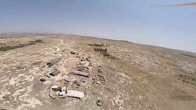 Aerial view of the illegal Nawaja outpost at Susiya. (Credit: Regavim)