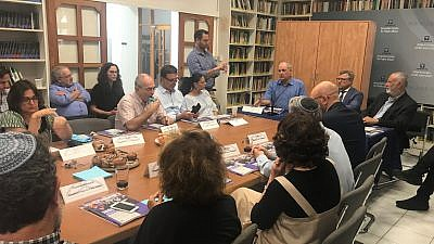 The panel at the June 18 book launch in Jerusalem. Credit: Eliana Rudee.