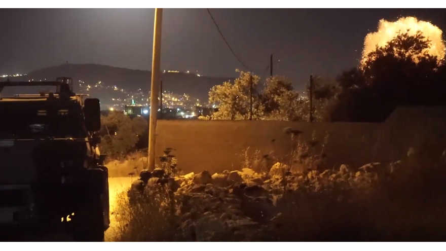 A Hamas bomb exploding during an Israeli raid on a terror cell in the West Bank city of Nablus. Credit: IDF Spokesperson Unit screenshot.