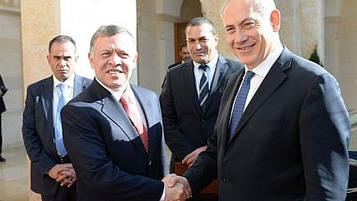 File photo: Jordan's King Abdullah and Israeli Prime Minister Benjamin Netanyahu in 2014. Credit: Kobi Gideon/GPO.