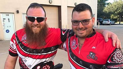 Following a heart attack a year ago, Rabbi Nochum Kurinsky, left, started some serious cycling training and has launched a cycling tour down Florida's Atlantic Coast with his brother, Zach. Credit: Chabad.org News.