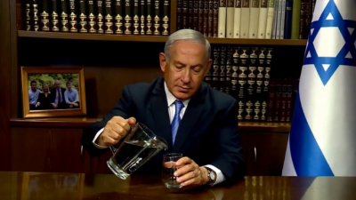 Israeli Prime Minister Benjamin Netanyahu tells Iranians that despite their theocratic regime's hatred of Israel, the Jewish state will create a website teaching farmers to recycle wastewater to save the country from severe drought. Source: screen capture.