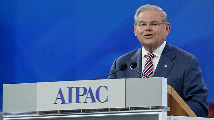 Sen. Robert Menendez (R-N.J.) speaking at AIPAC policy conference. Credit: AIPAC.