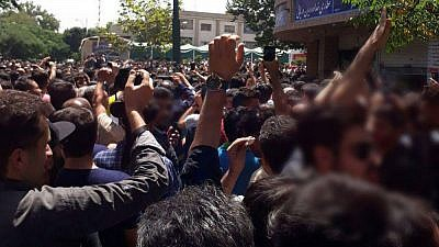 Demonstrations in the Tehran bazaar by merchants and shopkeepers over rising inflation in the country. Credit: National Council of Resistance of Iran.