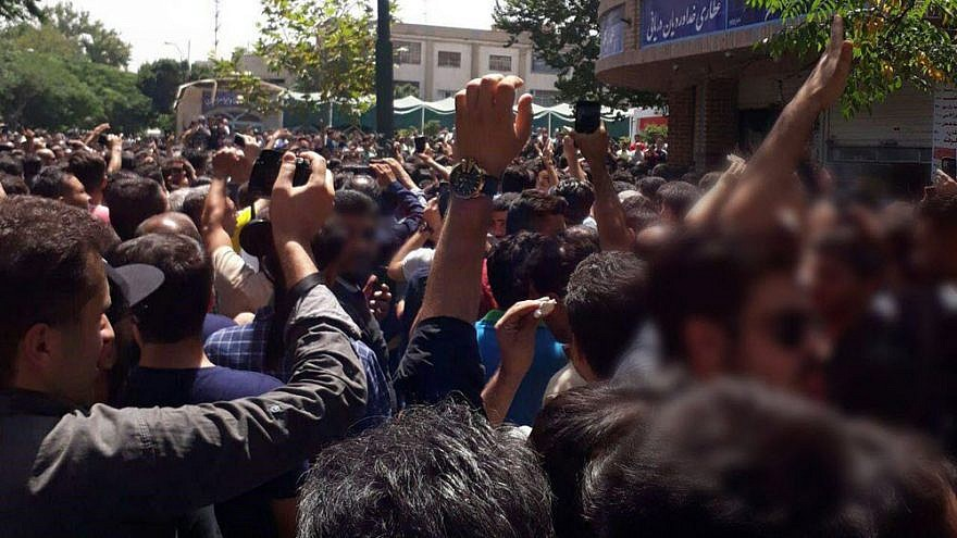 Demonstrations in the Tehran bazaar by merchants and shopkeepers over rising inflation in the country in June. Credit: National Council of Resistance of Iran.