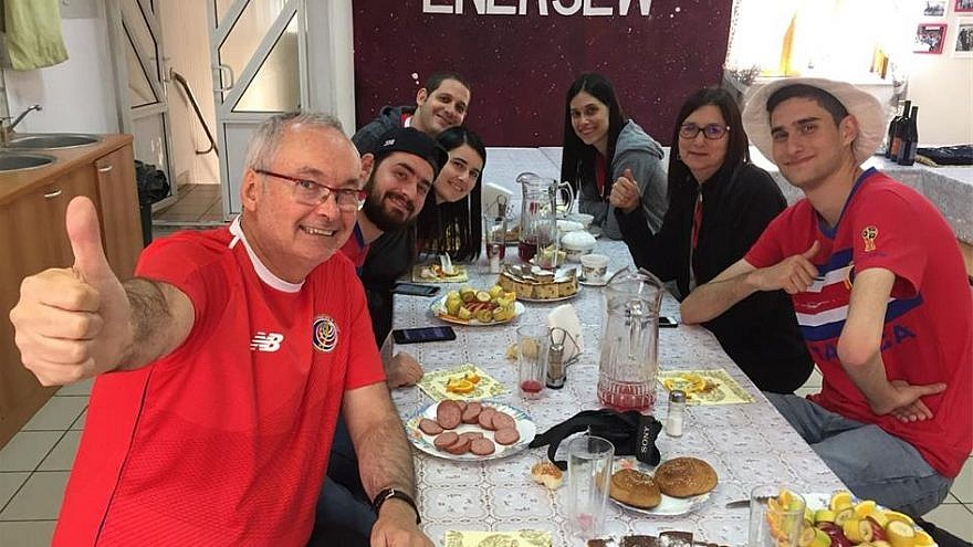 Soccer fans enjoy a kosher meal at the Chabad Jewish community center in Samara, Russia. (Credit: Chabad.org/News)