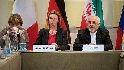 E.U. High Representative Federica Mogherini with Iranian Foreign Minister Zarif before P5+1 nations resume nuclear talks in Switzerland in 2015. Credit: U.S. State Department.