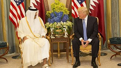 U.S. President Donald Trump meets with the Emir of Qatar during their bilateral meeting on May 21, 2017, at the Ritz-Carlton Hotel in Riyadh, Saudi Arabia. Official White House Photo/Shealah Craighead.