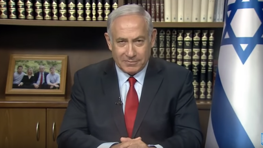 Israeli Prime Minister Benjamin Netanyahu addresses participants at the 13th annual CUFI summit, held from July 23-24, 2018. Screenshot: YouTube.