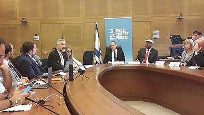 Middle East Forum president Daniel Pipes addressing Knesset Caucus in support of the Israel Victory Project. Credit: Middle East Forum via Twitter.