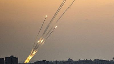 Rockets being fired from the Gaza Strip on July 14, 2018. Credit: IDF Spokesperson Unit.
