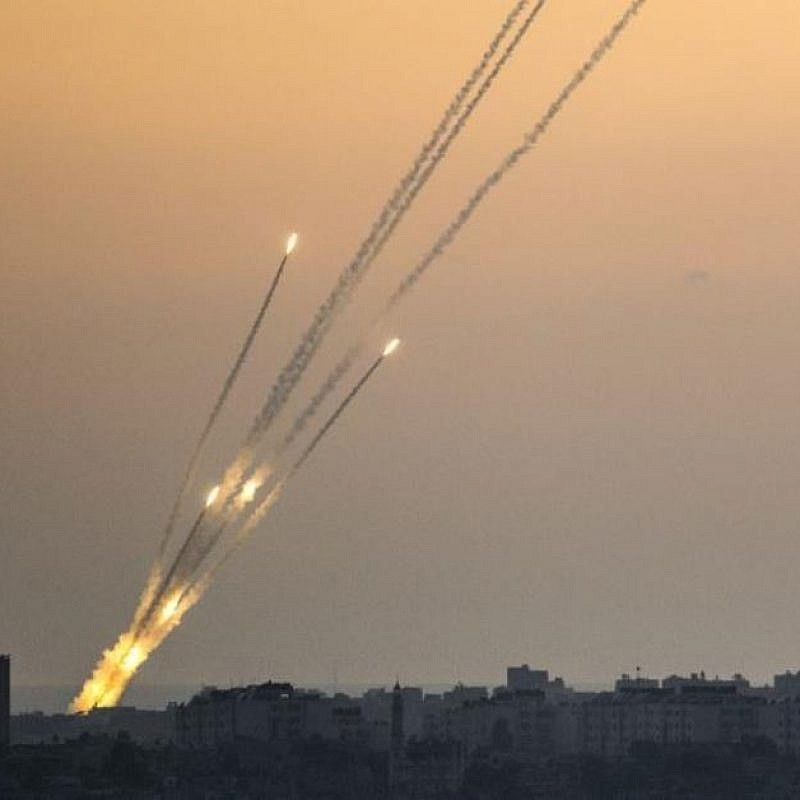 Rockets being fired from the Gaza Strip July 14, 2018. Credit: IDF Spokesperson Unit.