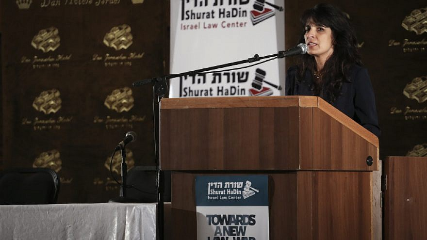 """Nitsana Darshan-Leitner, president of Shurat HaDin, Israel Law Center, speaks during the conference """"Towards a New Law of War"""" at the Dan Hotel Jerusalem on May 5, 2015. Photo by Hadas Parush/Flash90."""