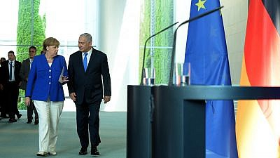 Israeli Prime Minister Benjamin Netanyahu and German Chancellor Angela Merkel at a joint press conference in Berlin on June 4, 2018. Photo by Haim Zach/GPO.