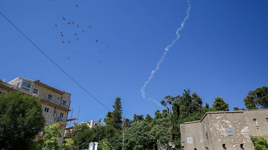 A smoke trail of a Patriot missile intercepted a drone approaching Israel from Syria in the northern Israeli city of Tzfat on July 11, 2018. Photo by David Cohen/Flash90.