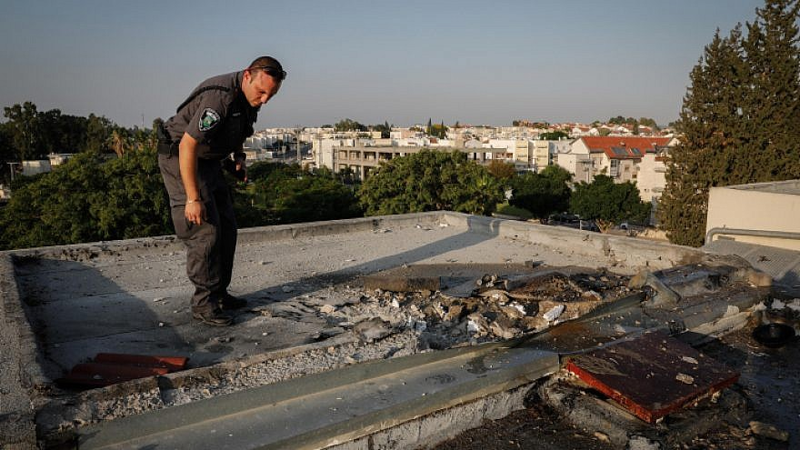 View of the damage caused by a rocket that hit a rooftop of a building in the southern Israeli city of Sderot on July 14, 2018. Photo by Hadas Parush/Flash90.