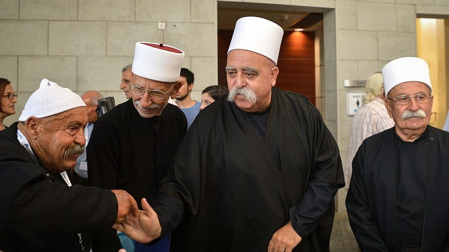 Shaykh Muwaffak Tarif (center), spiritual leader of the Israeli Druze community, attends a conference of the Zionist Druze Movement in Herzliya on July 16, 2018. Photo by Flash90.
