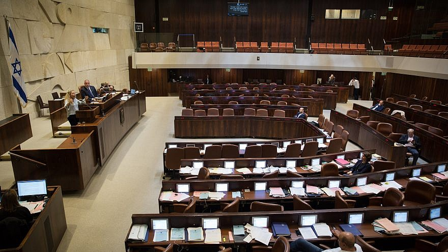 The Knesset Plenary Hall during speeches ahead of the vote on the National Law, which will enforce the foundation of the State of Israel as the state of the Jewish people, on July 18, 2018. Photo by Hadas Parush/Flash90.