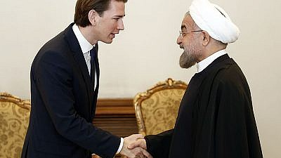 Austrian Chancellor Sebastian Kurz and Iranian President Hassan Rouhani in Tehran in 2013. Source: Wikimedia Commons.
