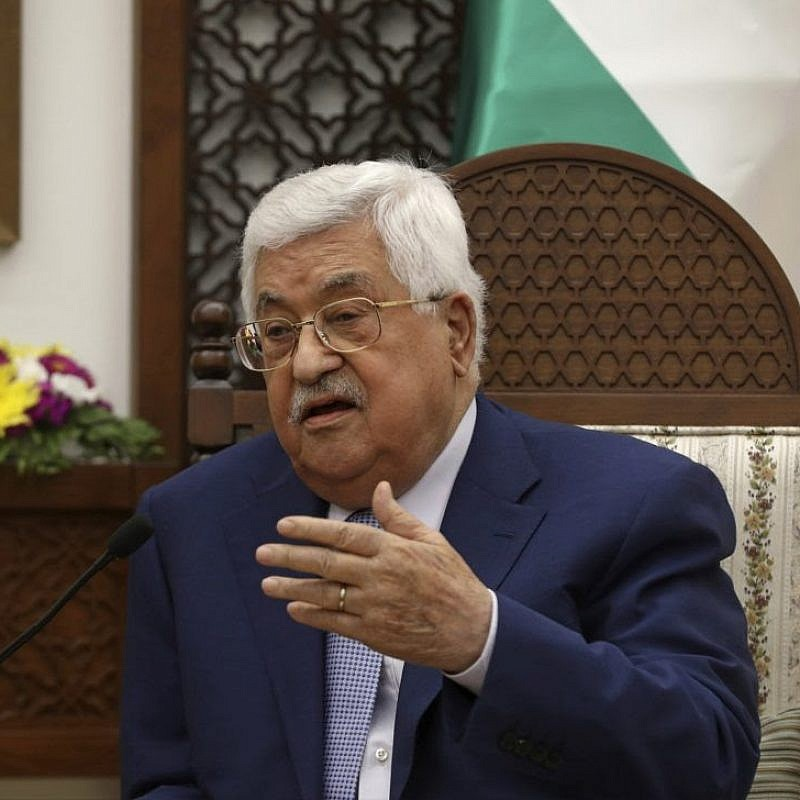 Palestinian Authority leader Mahmoud Abbas in the West Bank city of Ramallah on June 27, 2018. Photo: Alaa Badarneh/AP.