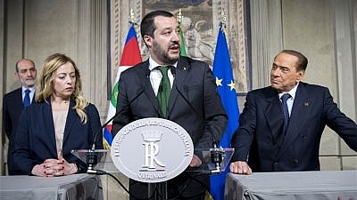 From left, Italian politicians Giorgia Meloni, Matteo Salvini and Silvio Berlusconi, on April 12, 2018. Credit: Presidenza della Repubblica/Wikimedia commons