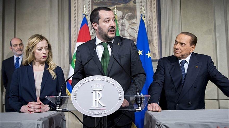 From left, Italian politicians Giorgia Meloni, Matteo Salvini and Silvio Berlusconi, on April 12, 2018. Credit: Presidenza della Repubblica/Wikimedia Commons.