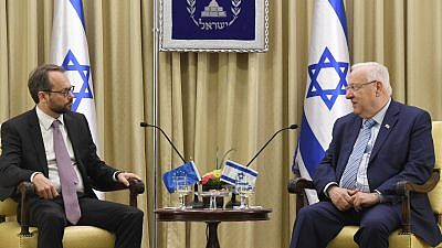 Israeli President Reuven Rivlin receives the credentials of E.U. Ambassador to Israel Emanuele Giaufret (left) in October 2017. Credit: Wikimedia Commons.