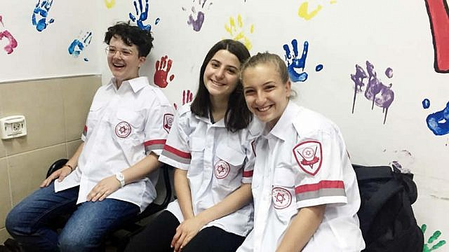 American teens volunteer with Magen David Adom. At right is Sophie Roth, 17, of New York. Credit: Courtesy.