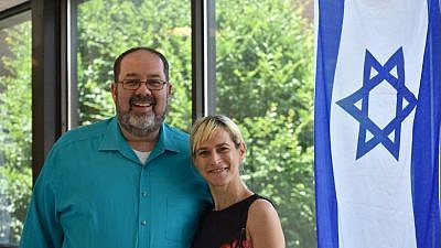 Jordan Shenker, CEO of the Kaplen JCC, and Aya Shechter, IAC's New Jersey Regional Director. Credit: Courtesy.