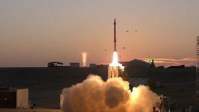 A David's Sling missile being launched. Credit: Rafael