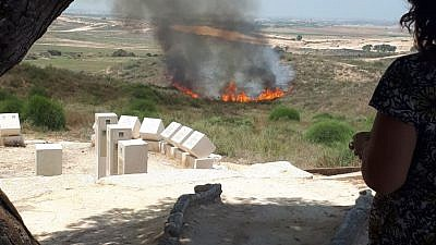 A fire breaks out near Sderot in southern Israel last week as a result of a Hamas-launched incendiary device. Credit: Josh Hasten.