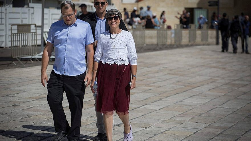 Former MK Shuli Mualem of the Jewish Home Party at the Western Wall plaza after visiting the Temple Mount compound in Jerusalem's Old City on Aug. 29, 2017, after Knesset members received permission to go up to the site. Photo by Hadas Parush/Flash90.
