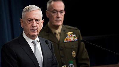 U.S. Defense Secretary James Mattis and U.S. Marine Gen. Joseph F. Dunford Jr. brief reporters on current American airstrikes on Syria during a joint press conference at the Pentagon on April 13, 2018. Credit: Department of Defense Photo by U.S. Army Sgt. Amber I. Smith.