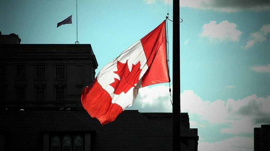 The Canadian flag flying at half mast. Credit: Simon Wiesenthal Center via Facebook.