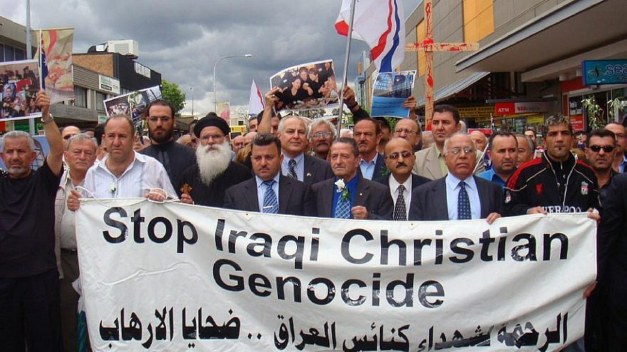 Assyrian Christians demonstrate against the genocide of Middle East Christians. Credit: Iraqi Christian Relief Council.
