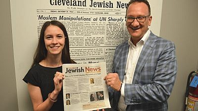 "Columbus Bureau Chief Amanda Koehn and Kevin S. Adelstein, publisher and CEO, display the inaugural issue of the new biweekly ""Columbus Jewish News,"" which debuted on Aug. 9. Credit: ""Columbus Jewish News."""