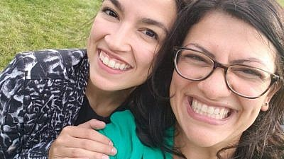 Michigan Democratic candidate for Congress Rashida Tlaib (right), a Palestinian American who recently won a party primary, appearing along with fellow Democratic candidate for Congress from New York Alexandria Ocasio-Cortez. Credit: Rashida Tlaib via Twitter.