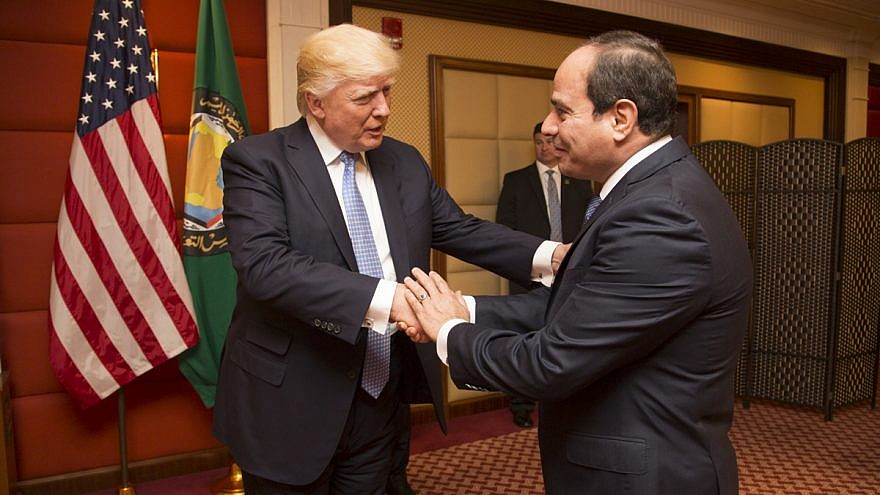 U.S. President Donald Trump greets the President of Egypt, Abdel Fattah El-Sisi, prior to their bilateral meeting on May 21, 2017, at the Ritz-Carlton Hotel in Riyadh, Saudi Arabia. Credit: Official White House Photo by Shealah Craighead.