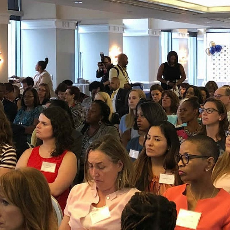 """Some 200 young professionals gathered in Philadelphia on July 31 for the """"Honoring Lauren Simmons, the Lone Woman on Wall Street: Empowering Minorities"""" event on  July 31, 2018. Credit: Orthodox Jewish Chamber of Commerce."""