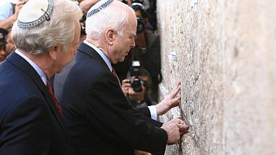 Arizona Sen. John McCain visits the Western Wall, Judaism's holiest prayer site, in Jerusalem's Old City on March 19, 2008. Photo by Nati Shohat /Flash90.