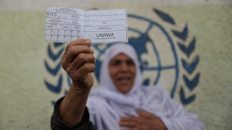 A Palestinian woman stands in front of UNRWA headquarters in Gaza City holding a refugee ration card during a protest demanding that the U.N. agency resume aid, April 8, 2013. Photo by Wissam Nassar/Flash90.