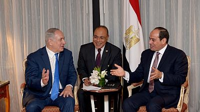 Israeli Prime Minister Benjamin Netanyahu meets with Egyptian President Abdel Fattah El-Sisi in New York on Sept. 18, 2017. Photo by Avi Ohayon/GPO.
