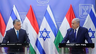 Prime Minister Benjamin Netanyahu holds a joint press conference with Hungarian Prime Minister Viktor Orbán, at the Prime Minister's Office in Jerusalem, on July 19, 2018. Photo by Marc Israel Sellem/POOL.