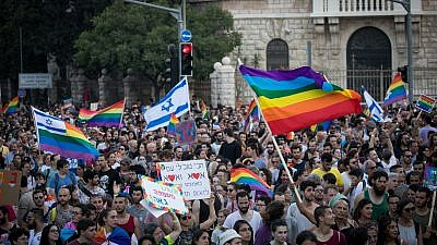 Thousands of people take part in the Gay Pride Parade in Jerusalem on Aug. 2, 2018. Photo By Yonatan Sindel/Flash90.
