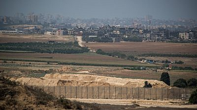 View of the Gaza Strip as seen from the Israeli side of the border on Aug. 9, 2018. Photo by Yonatan Sindel/Flash90.