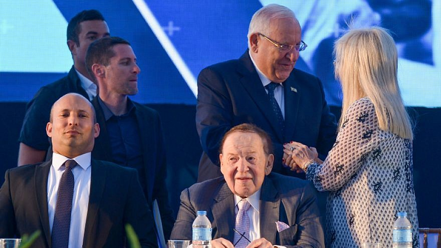 American businessman and investor Sheldon Adelson and his wife, Dr. Miriam Adelson, join Israeli President Reuven Rivlin and Education Minister Naftali Bennett at the ceremony for a new Faculty of Medicine at Ariel University in Samaria on Aug. 19, 2018. Photo by Ben Dori/Flash90.