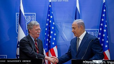 Israeli Prime Minister Benjamin Netanyahu holds a joint press conference with U.S. National Security Advisor John Bolton on Aug. 20, 2018. Photo by Ohad Zweigenberg/POOL.